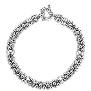LAGOS CAVIAR 925 Silver Rope 7mm Station BRACELET